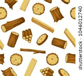 seamless pattern with wood logs ... | Shutterstock .eps vector #1046012740