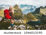 traveler woman with red... | Shutterstock . vector #1046013190