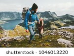 couple backpackers hiking in... | Shutterstock . vector #1046013220