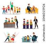 kids tv show set with sport art ...   Shutterstock .eps vector #1046015926