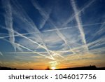 air traffic marks in the sky | Shutterstock . vector #1046017756