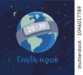 earth hour day concept. stop... | Shutterstock .eps vector #1046017789