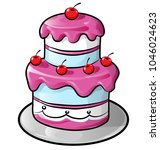 colorful birthday cake with... | Shutterstock .eps vector #1046024623