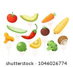 set of healthy vitamin full... | Shutterstock .eps vector #1046026774
