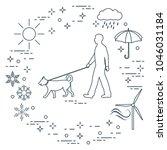 man walking a dog on a leash in ...   Shutterstock .eps vector #1046031184