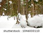 winter landscape with pine... | Shutterstock . vector #1046033110