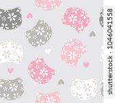 seamless cat pattern vector... | Shutterstock .eps vector #1046041558