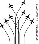 airplane flying formation  air... | Shutterstock .eps vector #1046043946