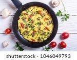 omelette with mushroom  ...   Shutterstock . vector #1046049793