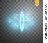 round blue glow rays night... | Shutterstock .eps vector #1046055223