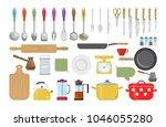 vector set of kitchen tools. | Shutterstock .eps vector #1046055280