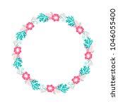 floral wreath bouquet flowers... | Shutterstock . vector #1046055400
