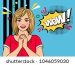 wow retro girl. happy vintage... | Shutterstock .eps vector #1046059030
