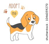 cute dog with adopt me text.... | Shutterstock .eps vector #1046059270