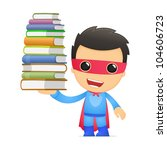 funny cartoon superhero in... | Shutterstock .eps vector #104606723