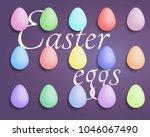 easter eggs colored set. spring.... | Shutterstock .eps vector #1046067490