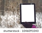 tablet computer with blank... | Shutterstock . vector #1046091043