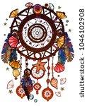 colored bohemian vector... | Shutterstock .eps vector #1046102908