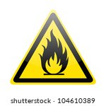 Fire Warning Sign On White