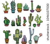 set of colorful succulents and... | Shutterstock .eps vector #1046107030
