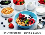 healthy breakfast with granola  ... | Shutterstock . vector #1046111008