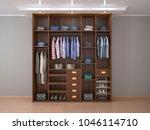 wooden men's outdoor wardrobe.... | Shutterstock . vector #1046114710