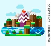 unreal mountains landscape.... | Shutterstock .eps vector #1046115520