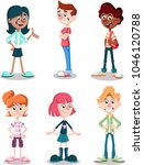 group of cartoon young people.  | Shutterstock .eps vector #1046120788