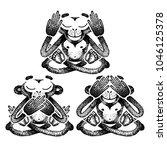 three monkeys. vector... | Shutterstock .eps vector #1046125378