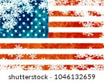 usa flag snowflake background | Shutterstock . vector #1046132659