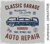 vintage hand drawn auto repair...   Shutterstock .eps vector #1046147038