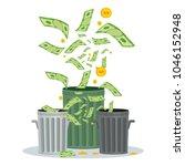 cash flow. banknotes fly away... | Shutterstock .eps vector #1046152948
