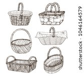 hand drawn picnic basket... | Shutterstock .eps vector #1046164579