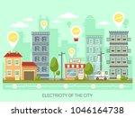 city with light bulbs having... | Shutterstock .eps vector #1046164738