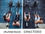 group of sporty muscular people ... | Shutterstock . vector #1046170303
