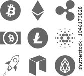 big set of crypto currency logo ... | Shutterstock .eps vector #1046173828