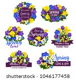 spring flower icon with ribbon... | Shutterstock .eps vector #1046177458