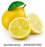lemon fruit with leaf isolated... | Shutterstock . vector #1046182330