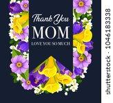 mother day flower bouquet... | Shutterstock .eps vector #1046183338