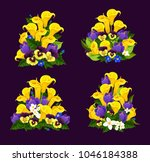 spring flower icon of floral... | Shutterstock .eps vector #1046184388