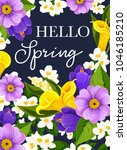 hello spring greeting card of... | Shutterstock .eps vector #1046185210