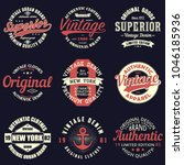 vintage original typography set.... | Shutterstock .eps vector #1046185936