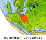 map of poland in red on globe... | Shutterstock . vector #1046189353