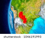 map of paraguay as seen from... | Shutterstock . vector #1046191993
