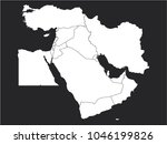 black and white map of middle... | Shutterstock .eps vector #1046199826
