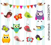 set of cute birds and... | Shutterstock .eps vector #104620979