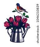 tulip bouquet hand drawn...   Shutterstock .eps vector #1046210839