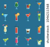 alcoholic cocktails drinks... | Shutterstock .eps vector #1046211568