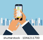 taxi service. smartphone and...   Shutterstock .eps vector #1046211700