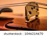 Close up of violin bridge and...
